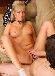 Cute blonde teen getting hardcore on the couch