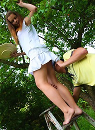 Kormel was supposed to be helping Sara out in the orchard but every time she went up the ladder he couldnt resist slipping his fingers