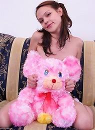 Naked girl with teddy bear