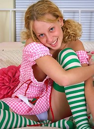 Busty blonde teen in crazy stockings